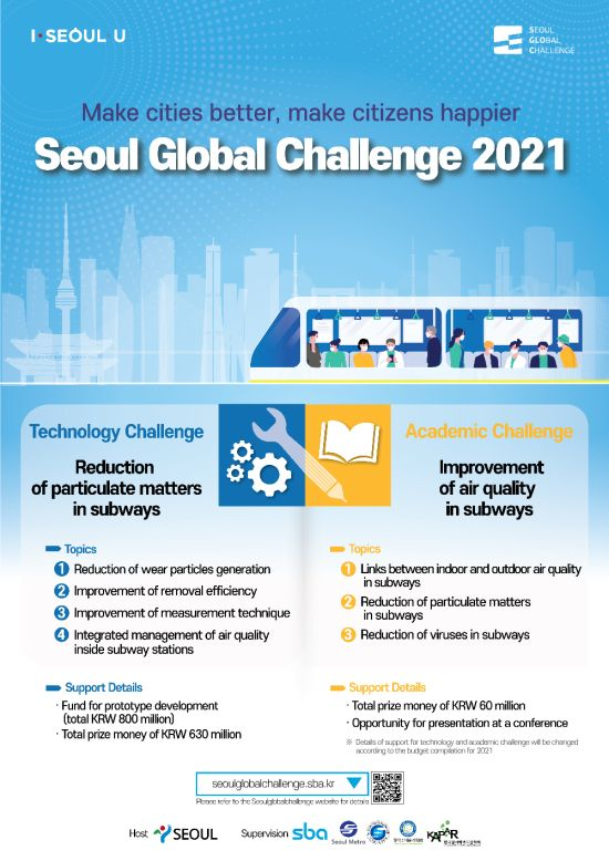 Seoul Global Challenge 2021, looking for global innovators who will solve the particulate matters in subways of Seoul