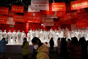 An exhibition on the fight against the coronavirus outbreak in Wuhan on Dec 31, 2020.