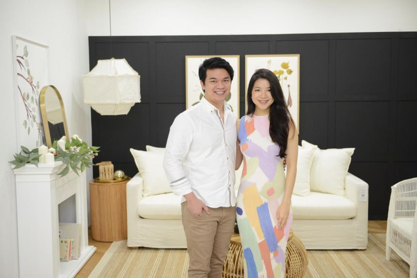 Mr Anthony Chai and Ms Jade Ng at their studio space in Jurong East. They forked out about $40,000 to renovate the rented space. They kept costs low through do-it-yourself projects, and painting the walls and installing lights by themselves.