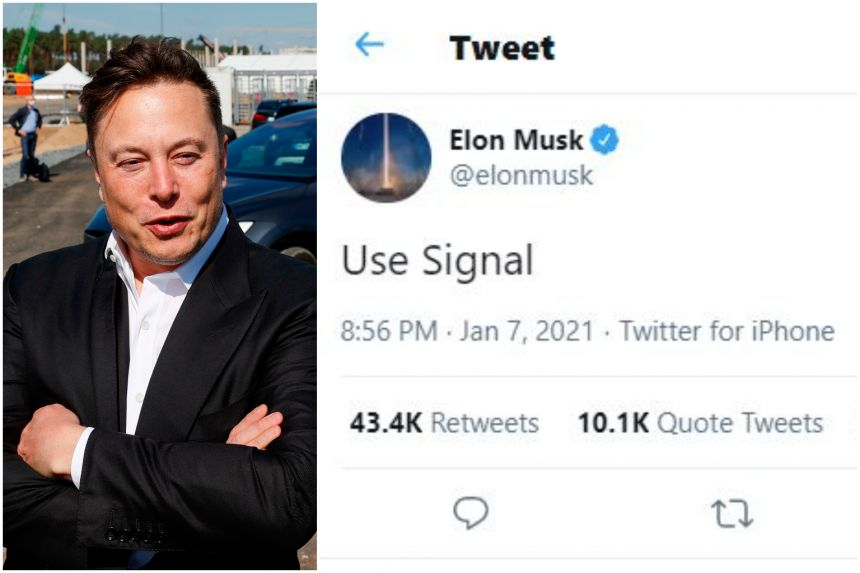 """Use Signal,"" the Tesla chief executive officer wrote on Twitter on Jan 7."
