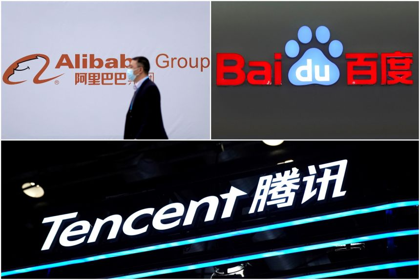 Alibaba and Baidu trade on the Nasdaq, while Tencent is listed in Hong Kong where Alibaba also has a secondary listing.