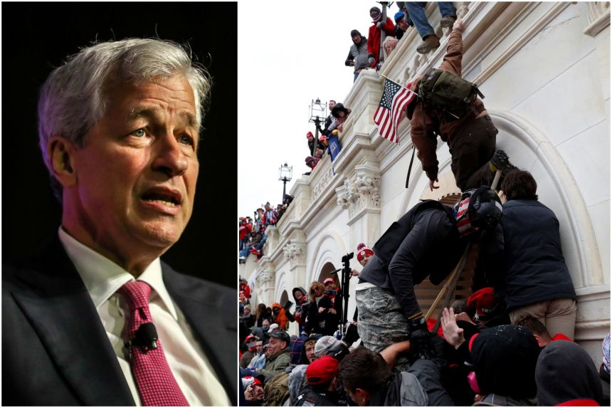 JPMorgan CEO Jamie Dimon said elected leaders have a responsibility to call for an end to the violence and accept the results.