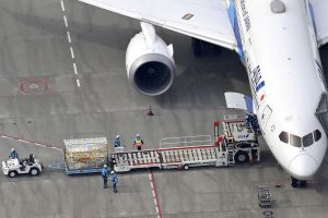 About 400,000 doses arrived at Narita International Airport, near Tokyo, on the morning of Feb 12, 2021.