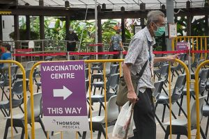 Seniors register for Covid-19 vaccine booster shots at Bishan Vaccination Centre on Oct 1, 2021.
