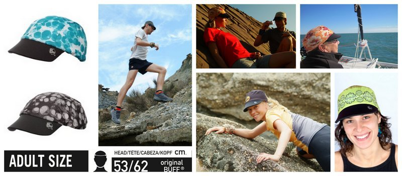 Collage of people wearing the Cap Buff® while running, hiking, climbing and sailing