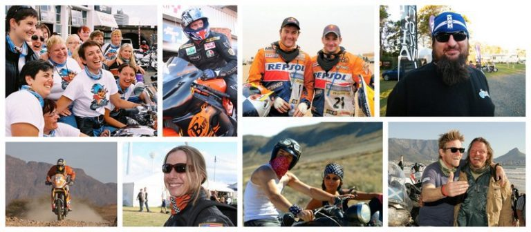 Collage of images showing the global motorcycle community wearing Buff® products