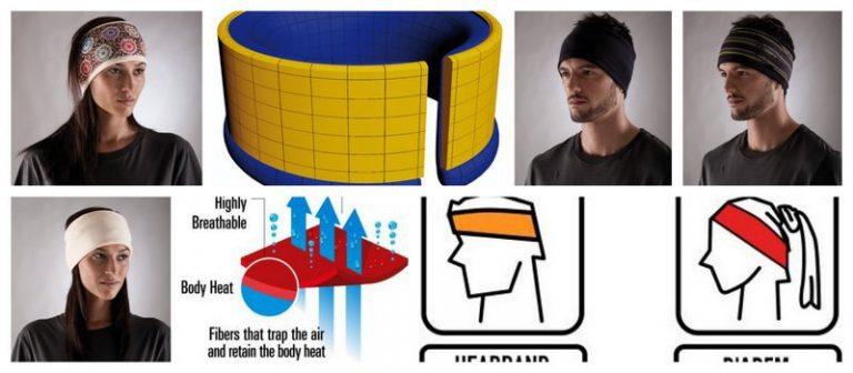 Collage showing men and women wearing the Reversible Polar Headband Buff®