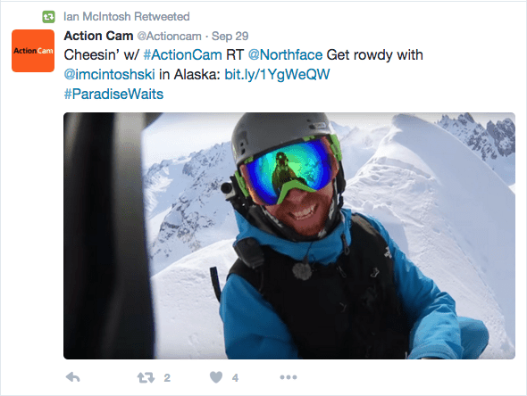 Twitter screenshot of Ian McIntosh wearing a Original Buff® as Balaclava under his ski helmet