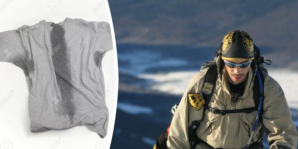 Photomontage Left image Stock photo. A grey t-shirt with sweat stains under sleeves and through the torso. Copyright: mjdphotography / 123RF Stock Photo Right Image A participant of an Adventure Race in Patagonia hikes up a mountain in full alpine gear. He is wearing an Original Buff® as beanie. You can see sweat on his face but the Buff® looks dry. © Unknown. Released by Original Buff S.A for the promotion of Buff® products.