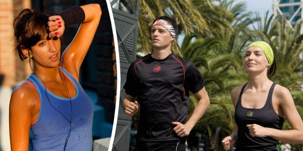 Photomontage Left image. Stock photo. Exhausted sweaty young woman after a long run. Peter Bernik © 123rf.com. Right image. Photoshoot. A male and a female model jogging. They are wearing Buff® headbands. © Original Buff® S.A. Released for the promotion of Buff® products