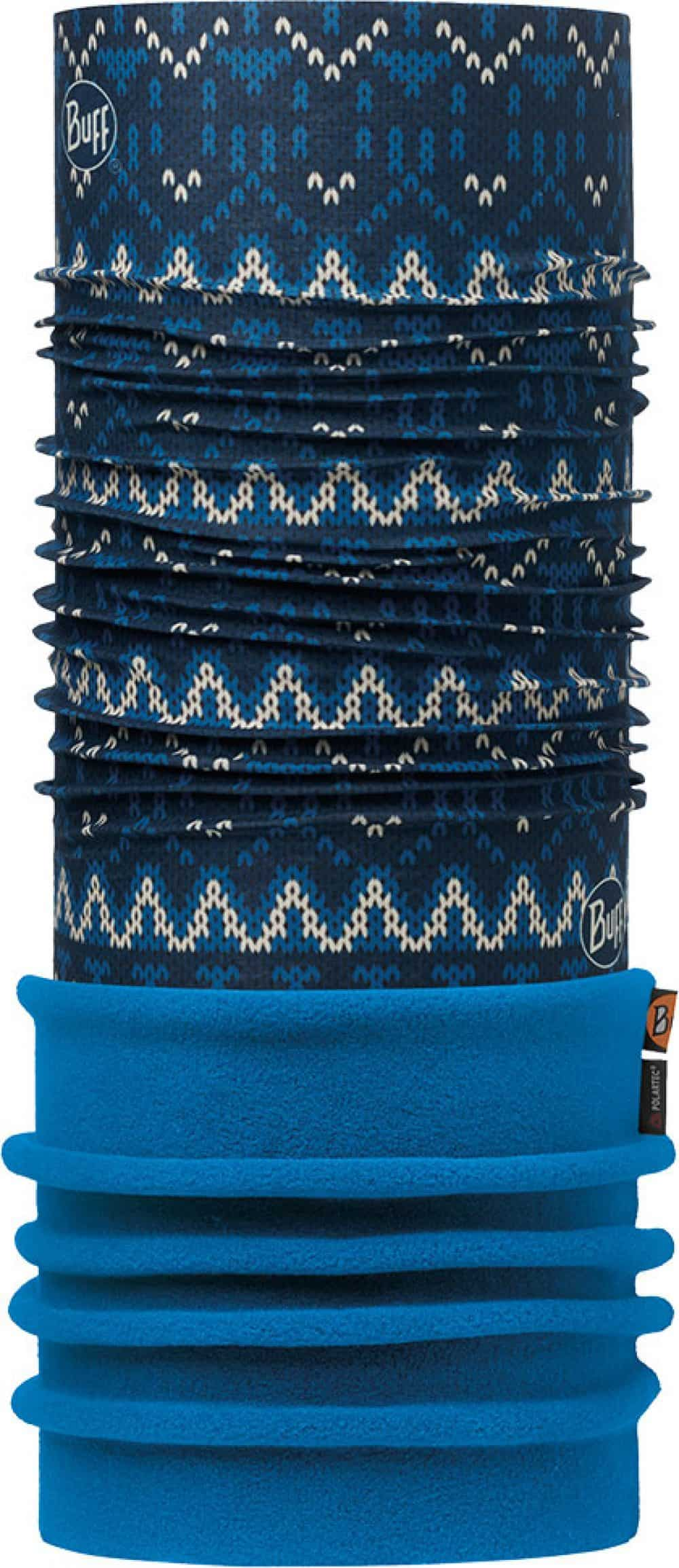 "Image of the Polar Buff® design ""Knit Dark Navy / Harbor"". The Buff® fabric part is the design ""Knit Dark Navy"". The Polartec® Fleece part is the colour ""Harbor""."