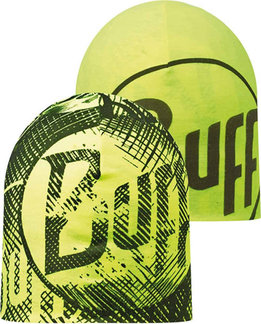 "Composite Image of the Microfiber Reversible Hat Buff® design ""R-Log US Black / Yellow"""
