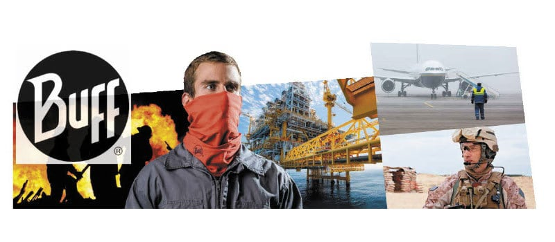 Collage of the Buff Professional Collection in use in fire fighting, on oil rigs, in the army, on the airfield and in the kitchen