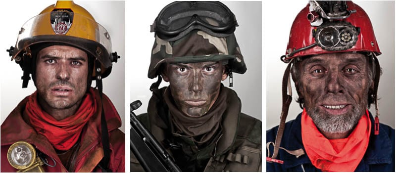 Collage showing the Nomex® Fire Resistant Buff® worn by a fire fighter, a soldier and a miner.
