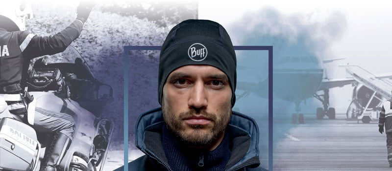 Photo montage of a man wearing a Buff® Professional Windproof Hat. To his left is a police officer on a motorbike. To his right is a photo of a passenger plan standing on the airport tarmac. Source: Buff® Denmark
