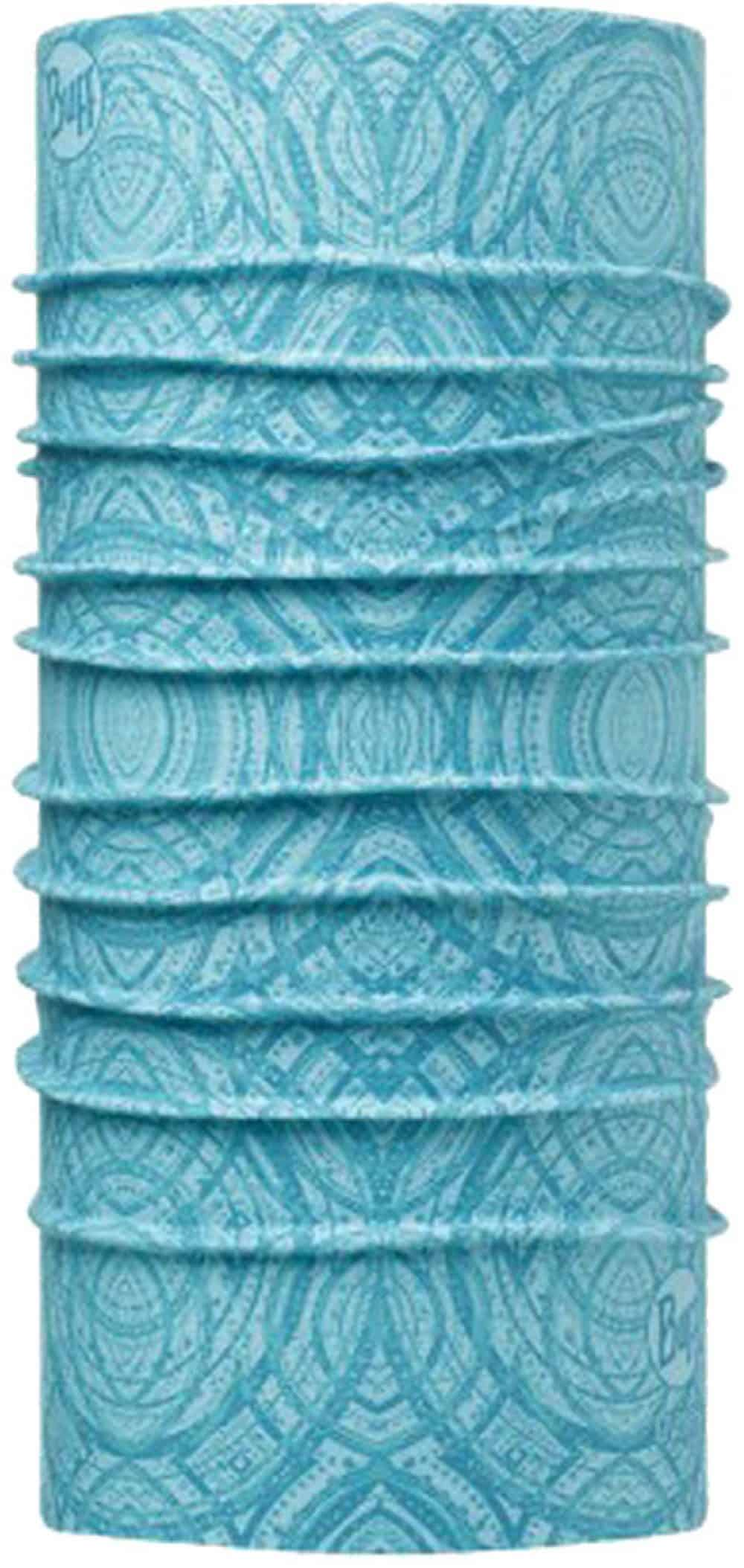 """Picture of the High UV Buff® design """"Mash Turquoise"""". A geometric pattern in turquoise. It is a one sided printed design. The inside is white."""