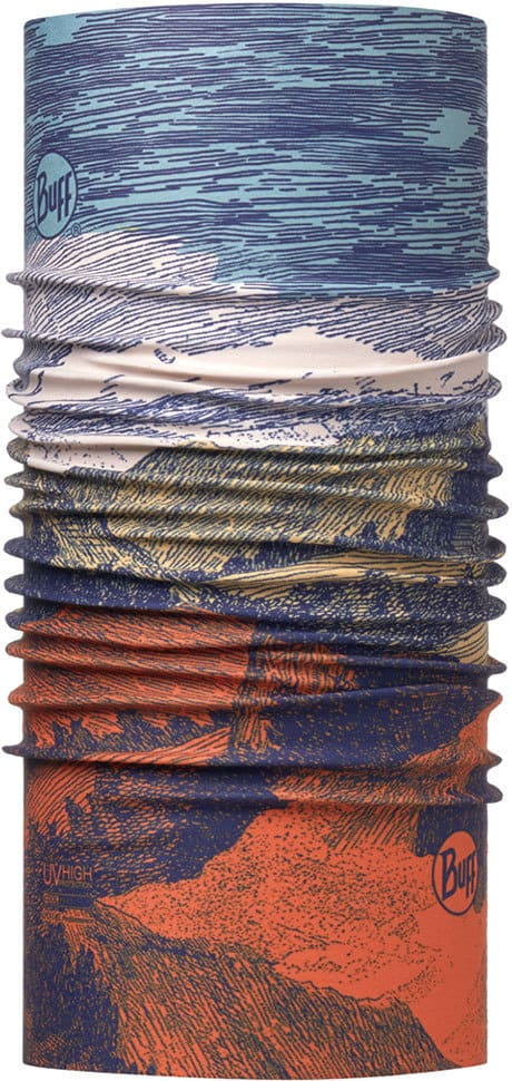 """Picture of the High UV Buff® design """"Landscape Multi"""". A pencil art design showing a mountain landscape. The colours range from blue for the sky to red for the soil. It is a one sided printed design. The inside is plain white."""