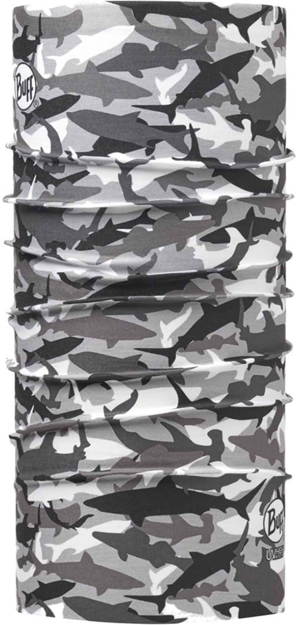 "Picture of the High UV Buff® design ""Shark Camo Grey"". A camouflage type design with shark silhouettes used like stencils. The colours used a white, grey, & black. It is a one sided printed design. The inside is white."
