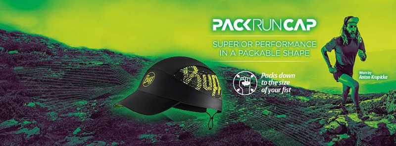 "Collage showing Anton Krupicka running in the mountains. Superposed is a product image of the Pack Run Cap design ""Flash Logo"". Source: buff.eu"