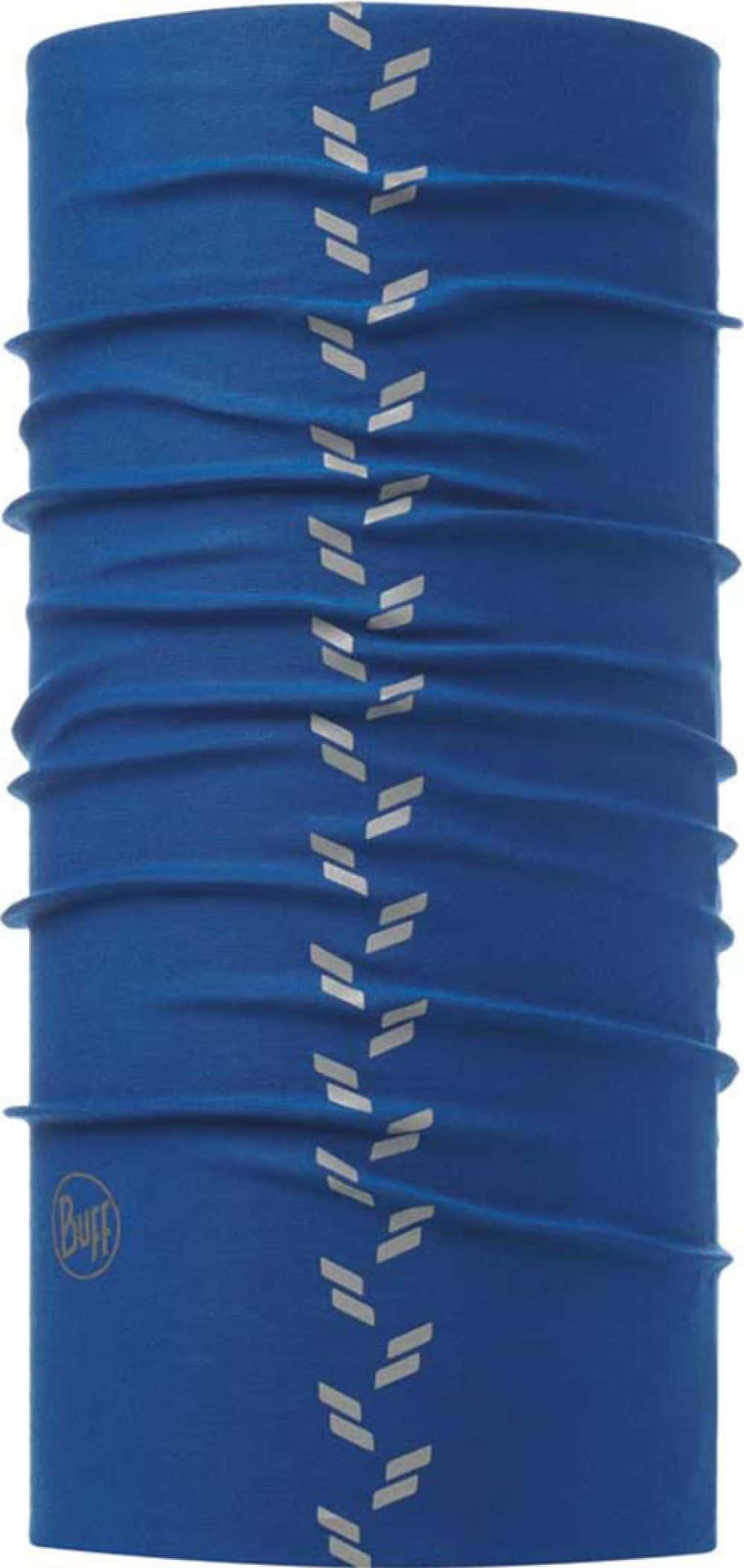 "A studio photo of the Reflective Buff® design ""Blue Skydiver"". It's a solid blue colour with reflective elements going down in a tyre tread pattern. Source: buff.eu"