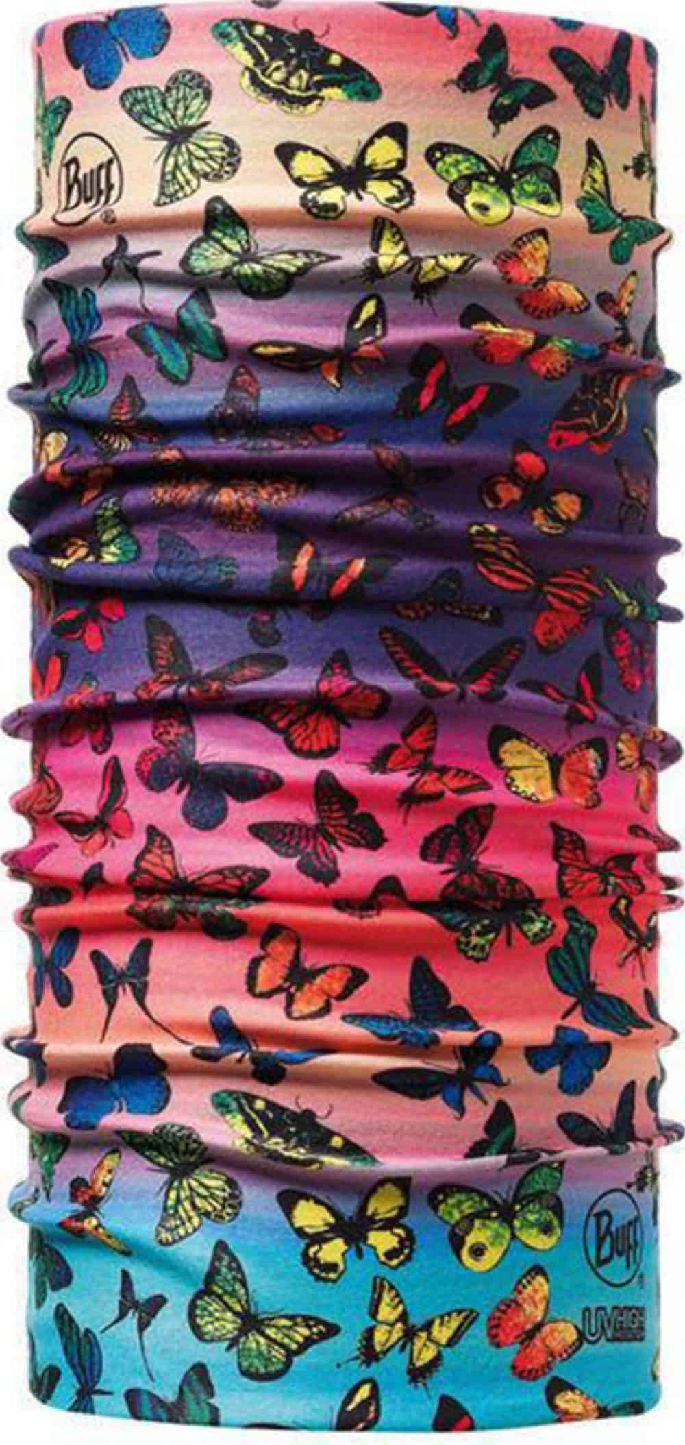 "A studio image of the Junior High UV Buff® ""Colorfly"". It's a vivid design displaying different butterfly species with a red, blue, and purple background. Source: buff.eu"