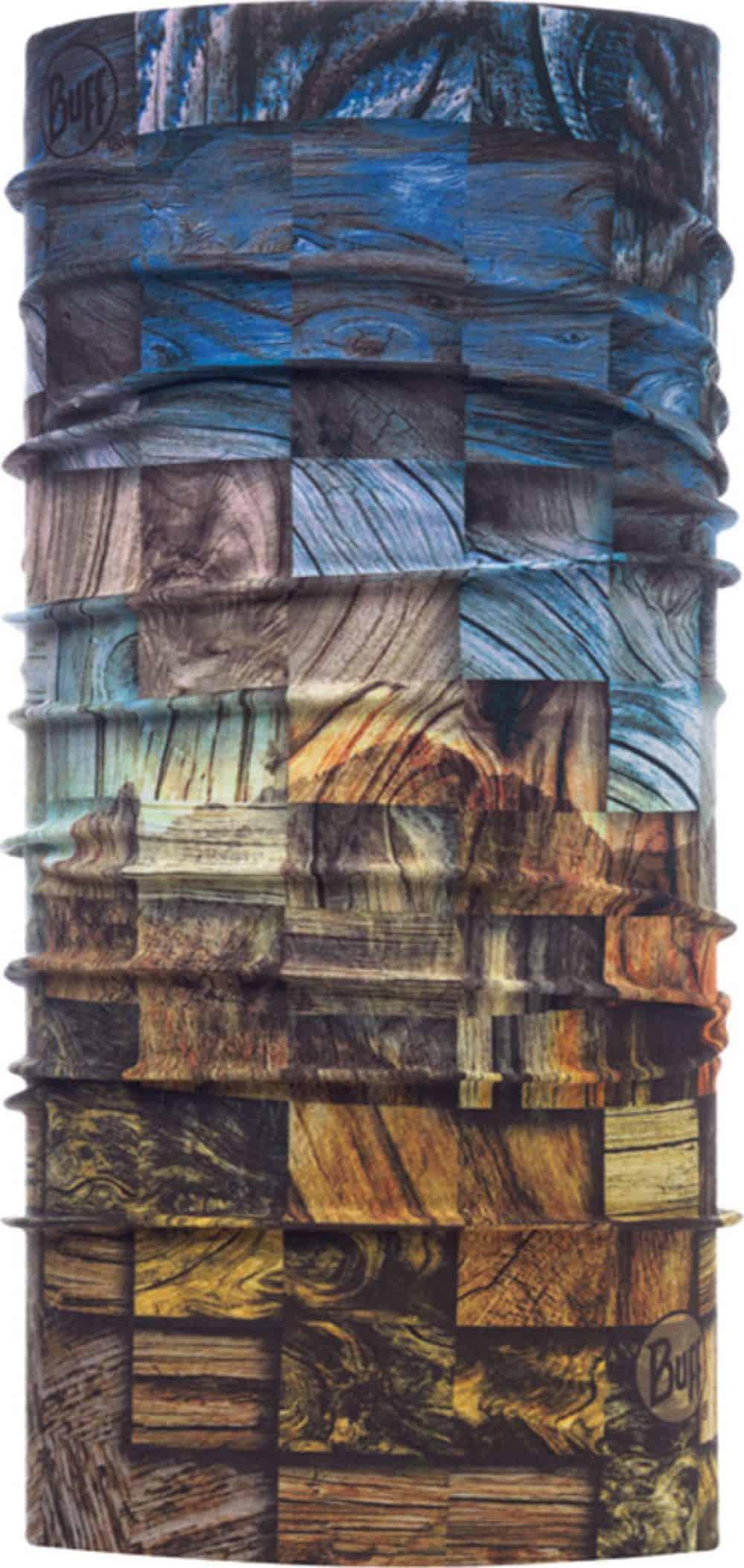 "Studio photo of the High UV Buff® design ""Wood Collage"". Source: buff.eu"