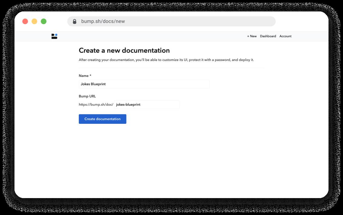 Bump new documentation screen