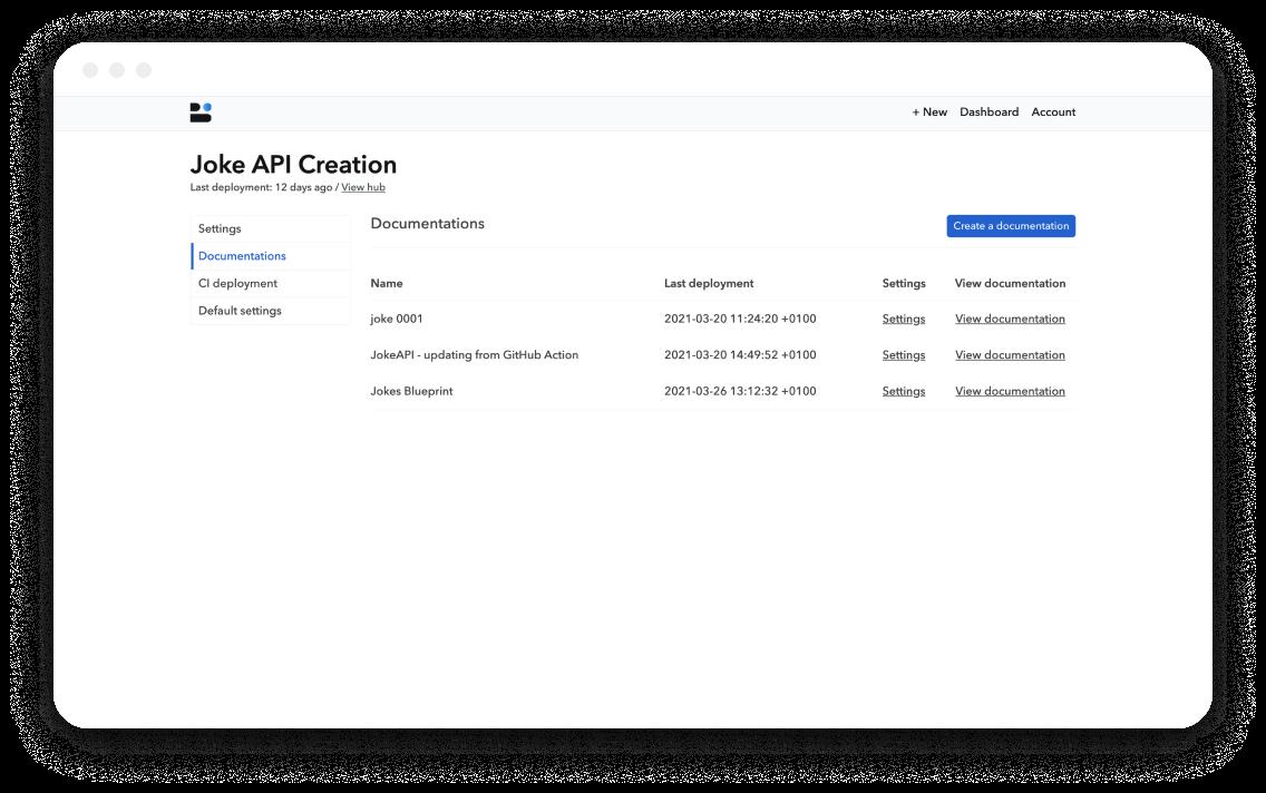 Bump Joke API hub dashboard documentations