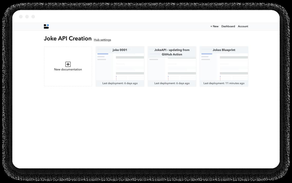 Bump Joke API hub dashboard screen
