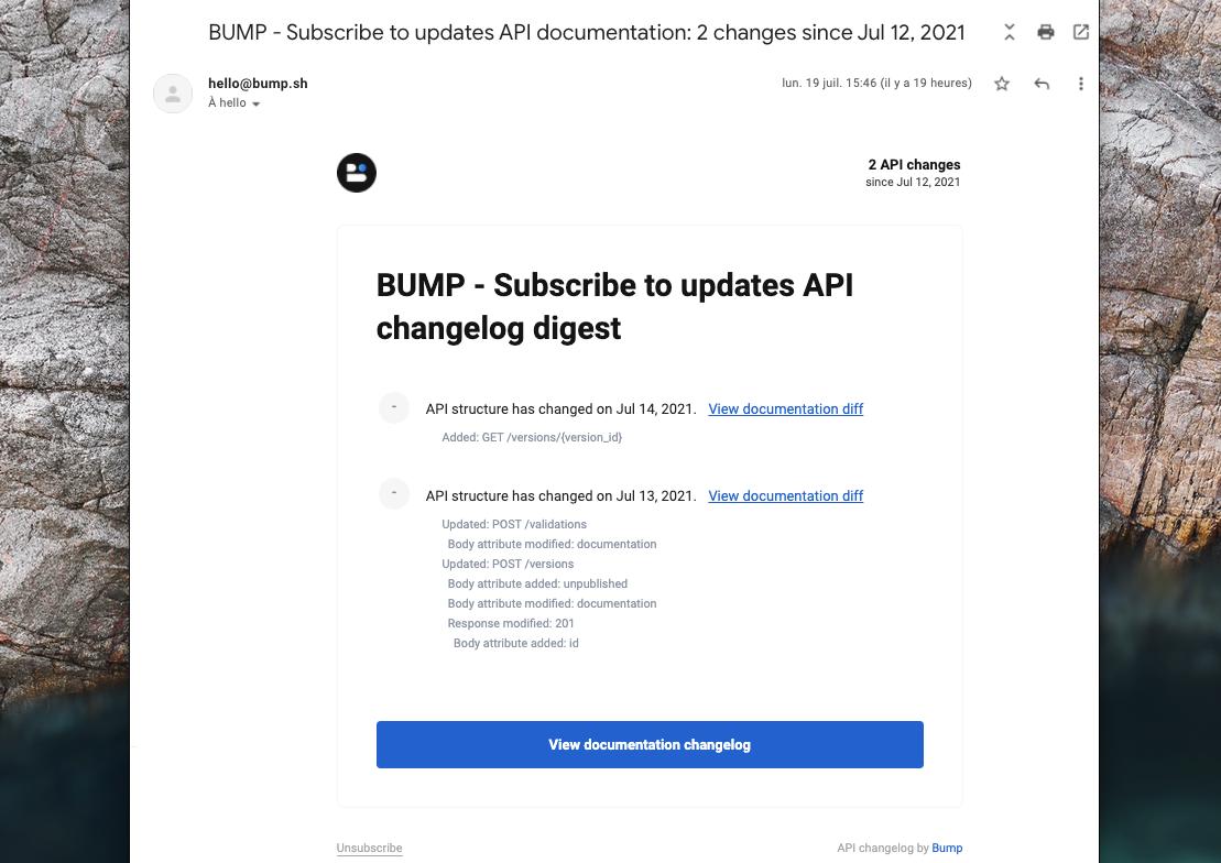 Bump changelog email digest