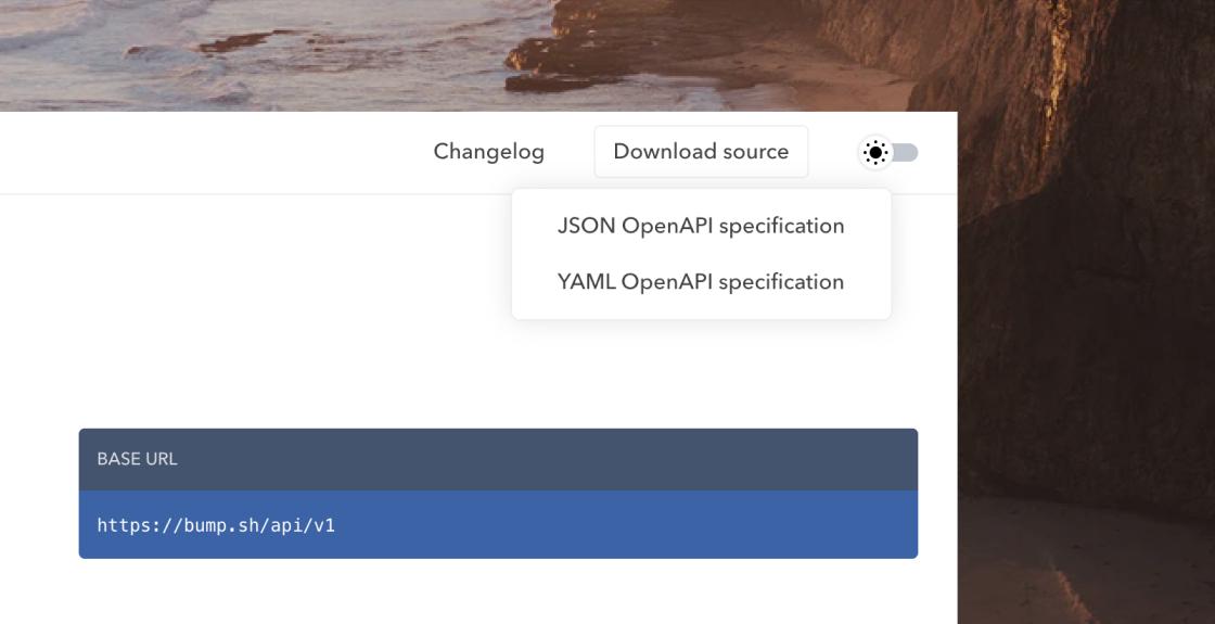Bump download API Documentation source