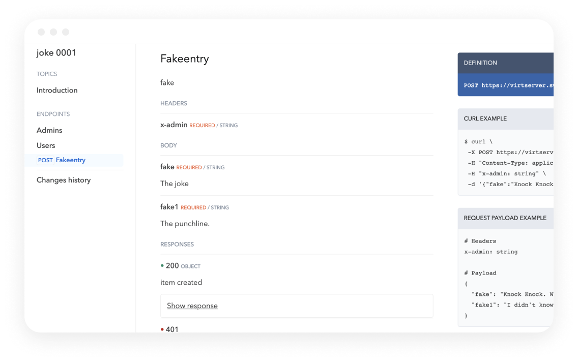 Bump Joke API fakeentry screen