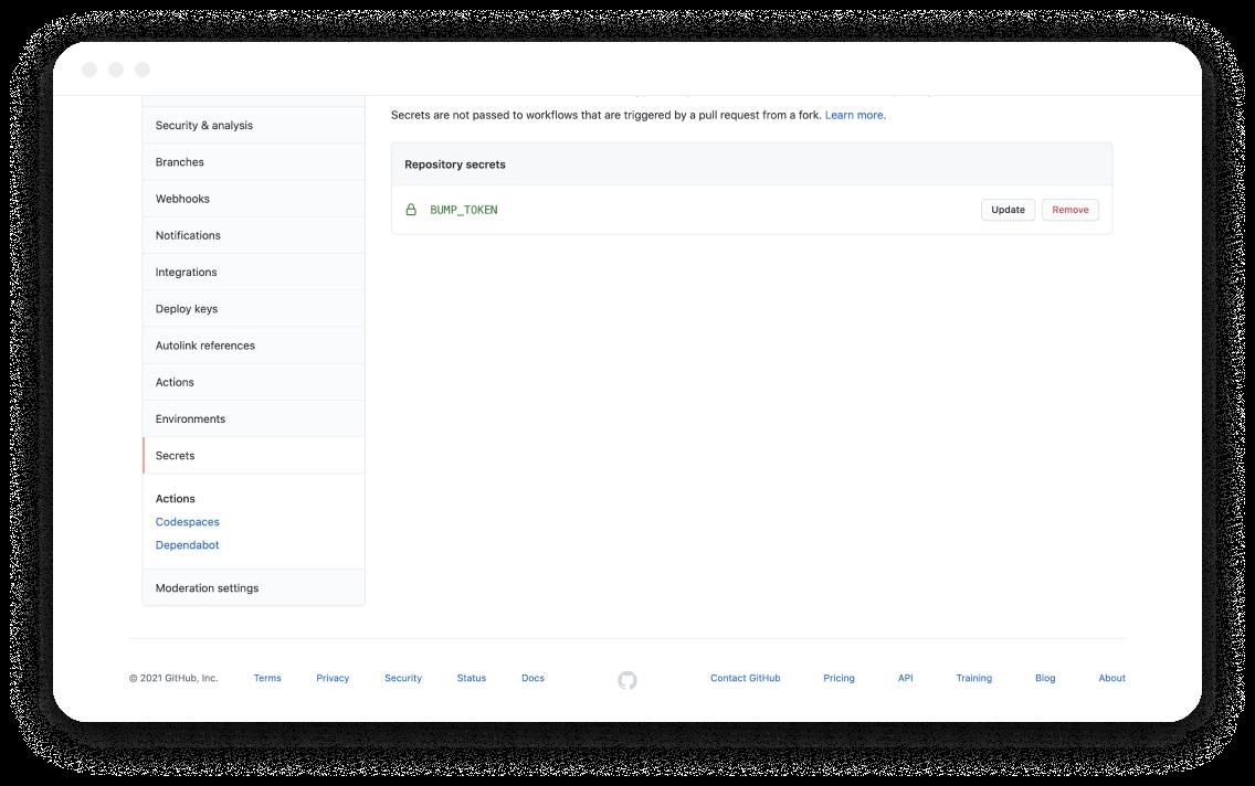 GitHub Action secret screen