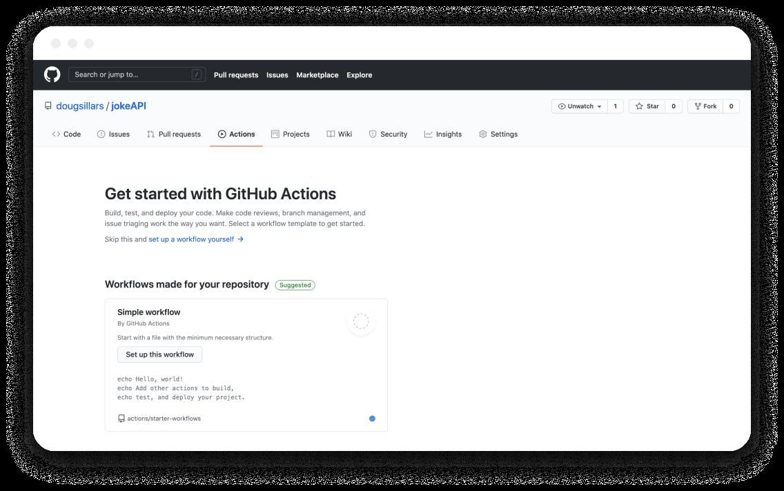 GitHub Action worflow setting screen