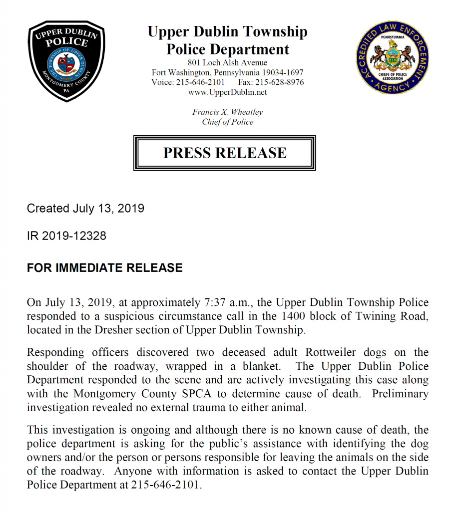 Upper Dublin Police Press Release