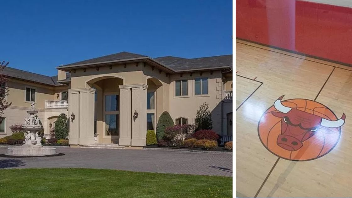 Mansion For Sale In Blue Bell Has An Indoor Basketball Court With Chicago Bulls Logo Around Ambler