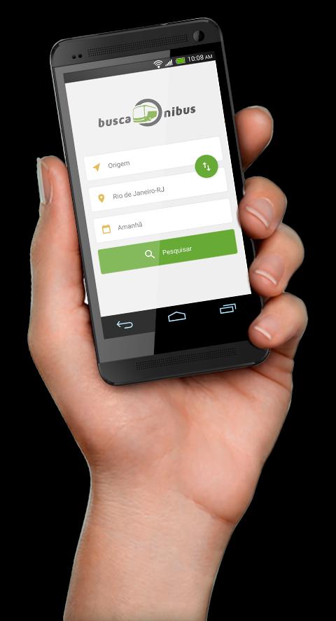 Mão segurando smartphone com app da BuscaOnibus