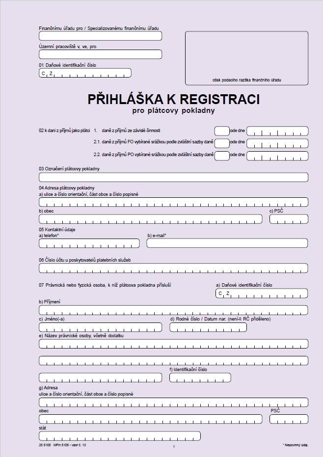 Přihláška k registraci pro plátcovy pokladny – Finanční správa ČR (FS ČR)