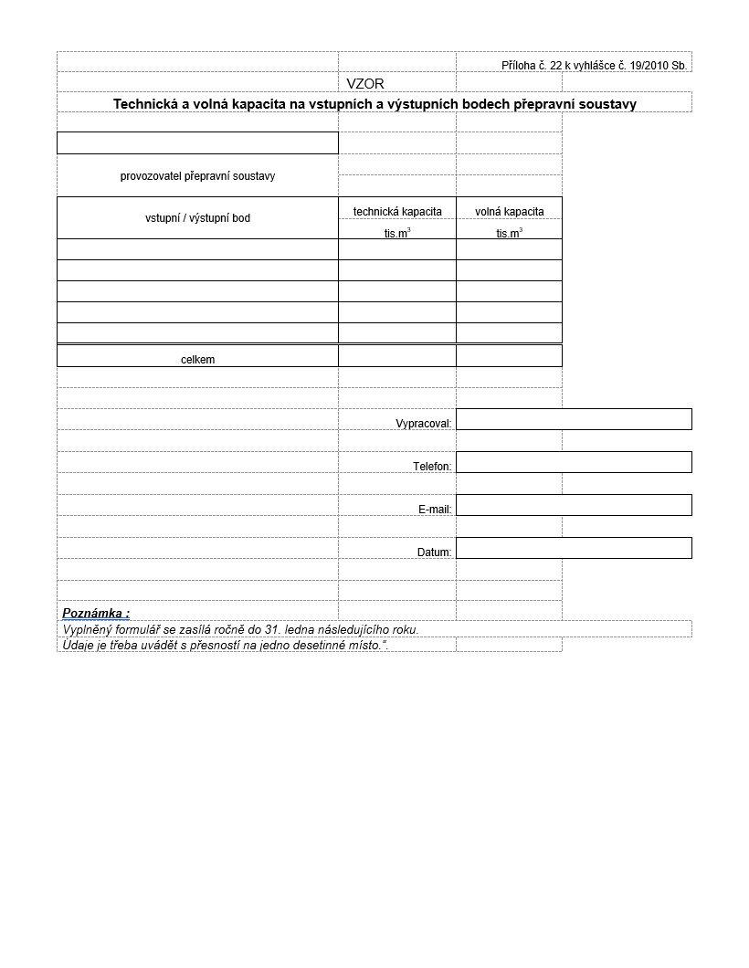 Technická a volná kapacita na vstupních a výstupních bodech přepravní soustavy - statistika pro MPO