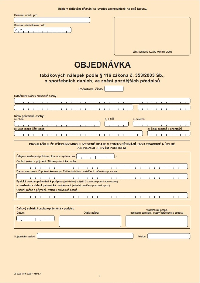 Objednávka tabákových nálepek – Celní správa ČR