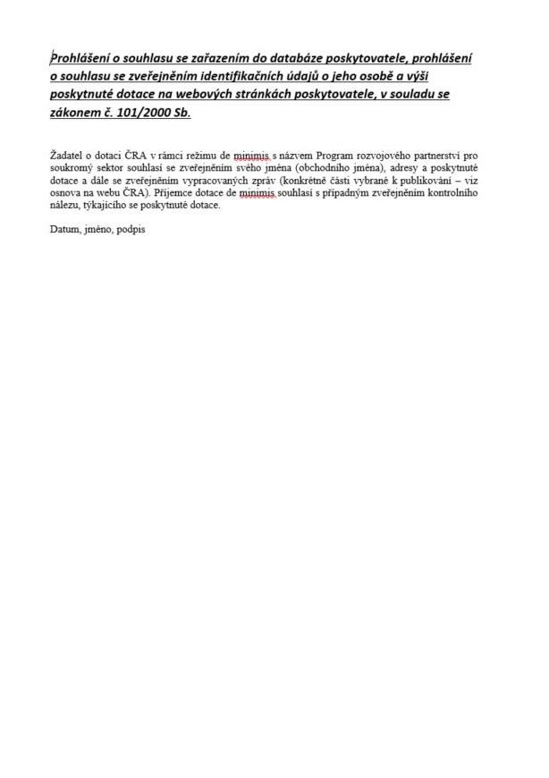 Prohlášení o souhlasu se zpracováním osobních údajů (MZV)