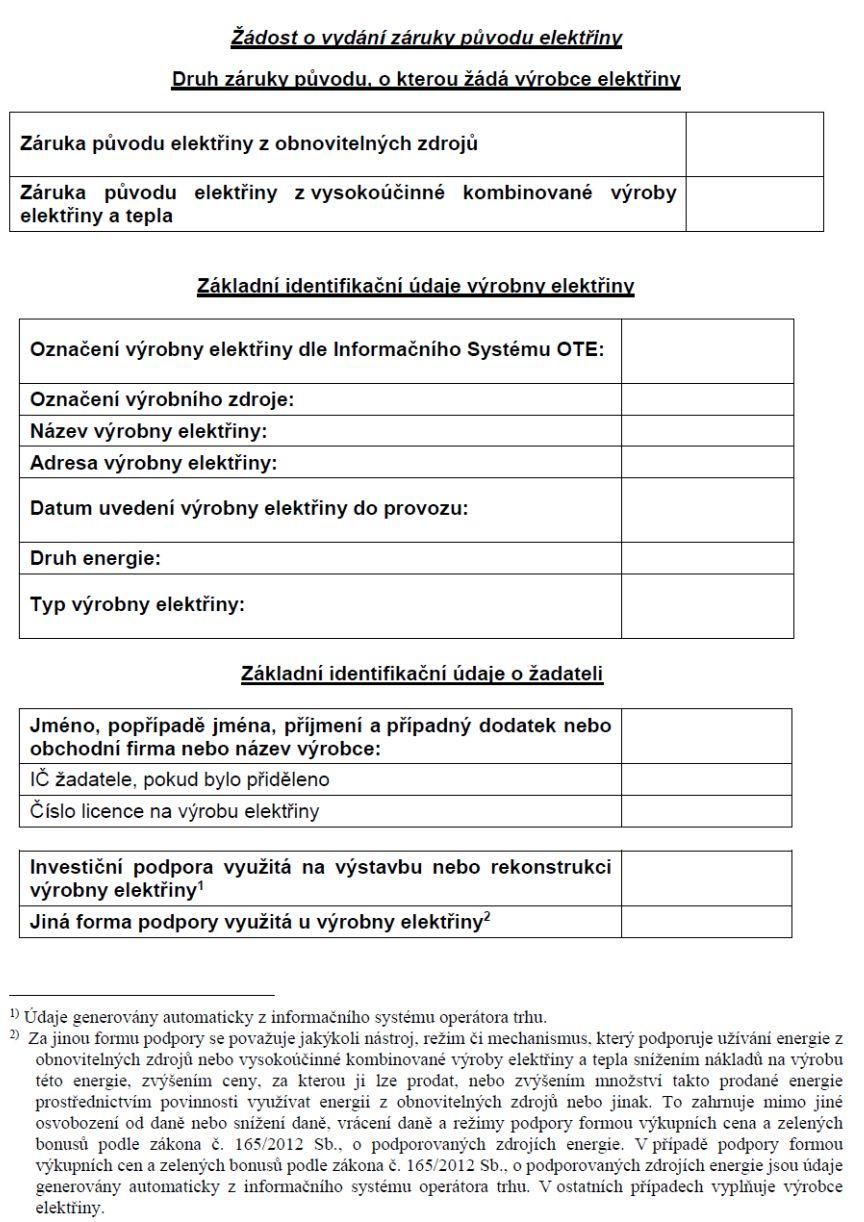 Žádost o vydání záruky původu elektřiny – Ministerstvo průmyslu a obchodu (MPO)