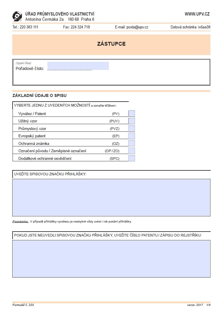 Žádost o zápis zástupce, změna údajů o něm a další úkony – Úřad průmyslového vlastnictví (ÚPV)