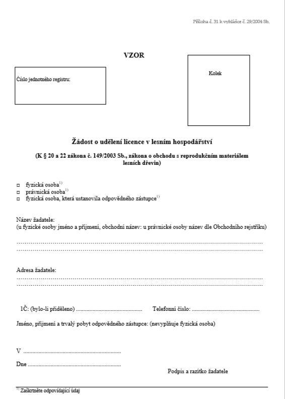 Žádost o udělení/prodloužení doby platnosti licence k uvádění reprodukčního materiálu lesních dřevin do oběhu (ÚHÚL)