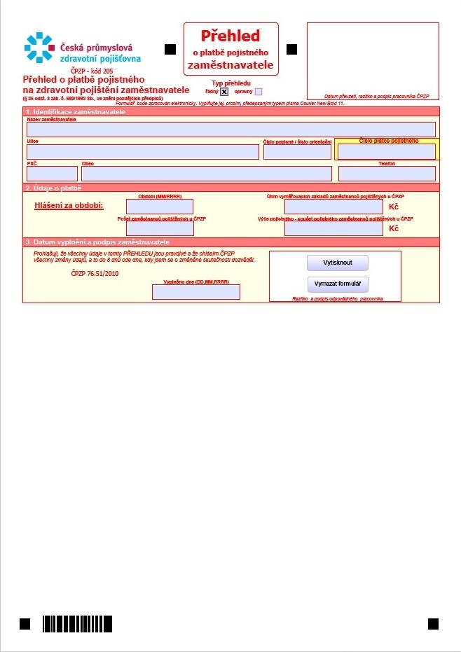 Přehled o platbě pojistného zaměstnavatele – Česká průmyslová zdravotní pojišťovna (ČPZP)