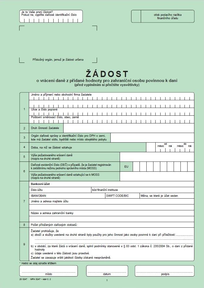 Žádost o vrácení daně z přidané hodnoty pro osobu povinnou k dani neusazenou v tuzemsku – Finanční správa ČR (FS ČR)
