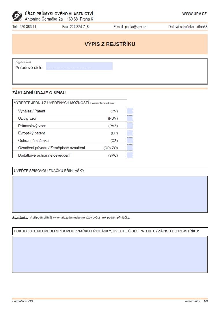 Žádost o výpis z rejstříku – Úřad průmyslového vlastnictví (ÚPV)