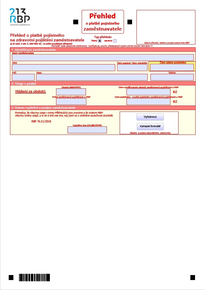 Přehled o platbě pojistného zaměstnavatele – Revírní bratrská pokladna (RBP)