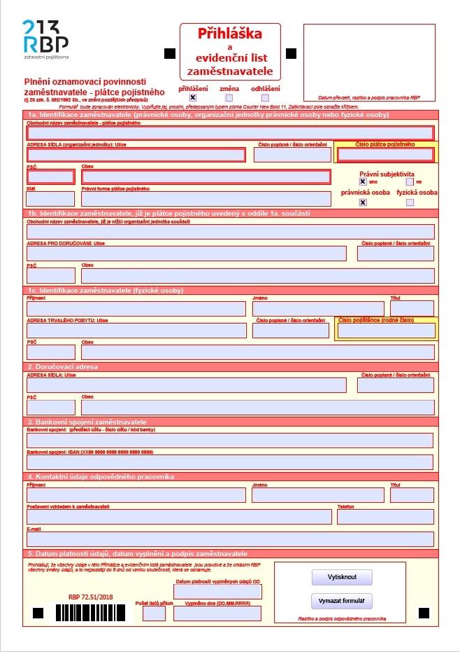 Přihláška zaměstnavatele – Revírní bratrská pokladna (RBP)
