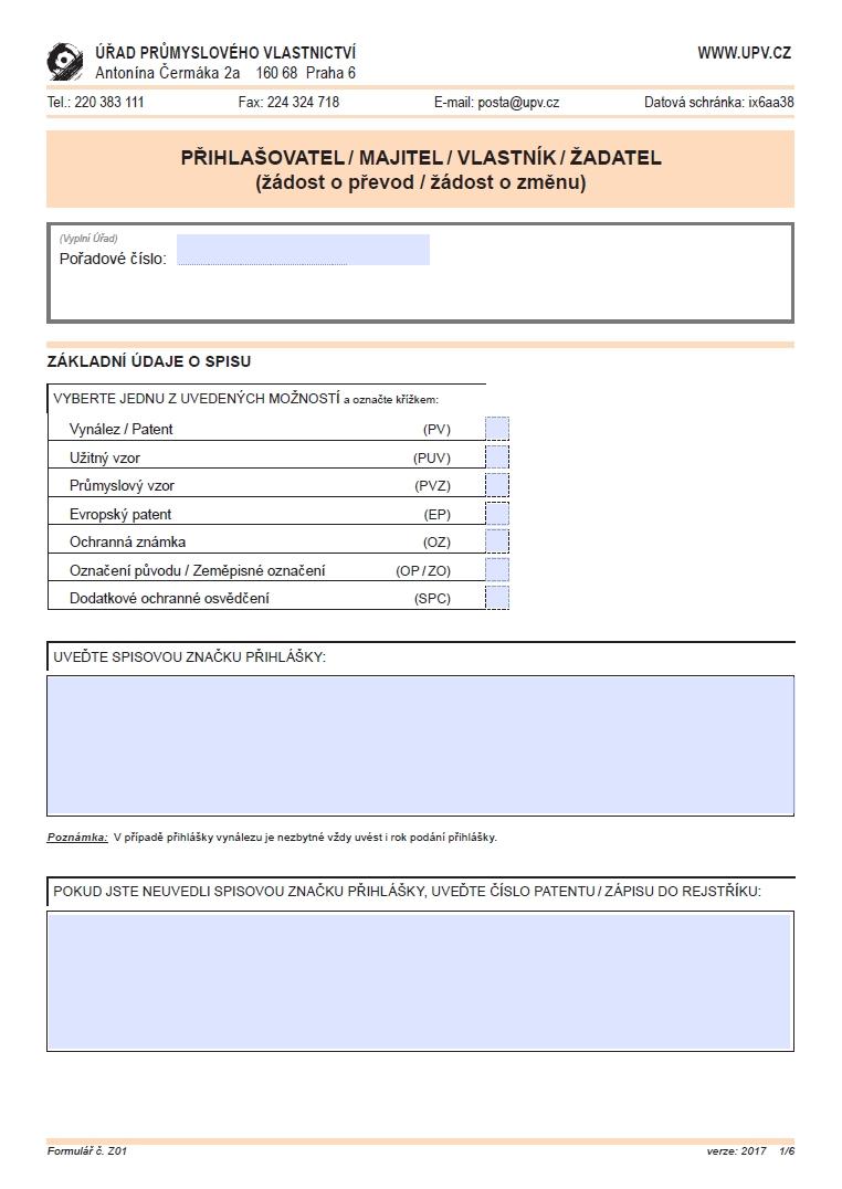 Žádost o převod/ změnu (přihlašovatel/ majitel/ vlastník/ žadatel) – Úřad průmyslového vlastnictví (ÚPV)